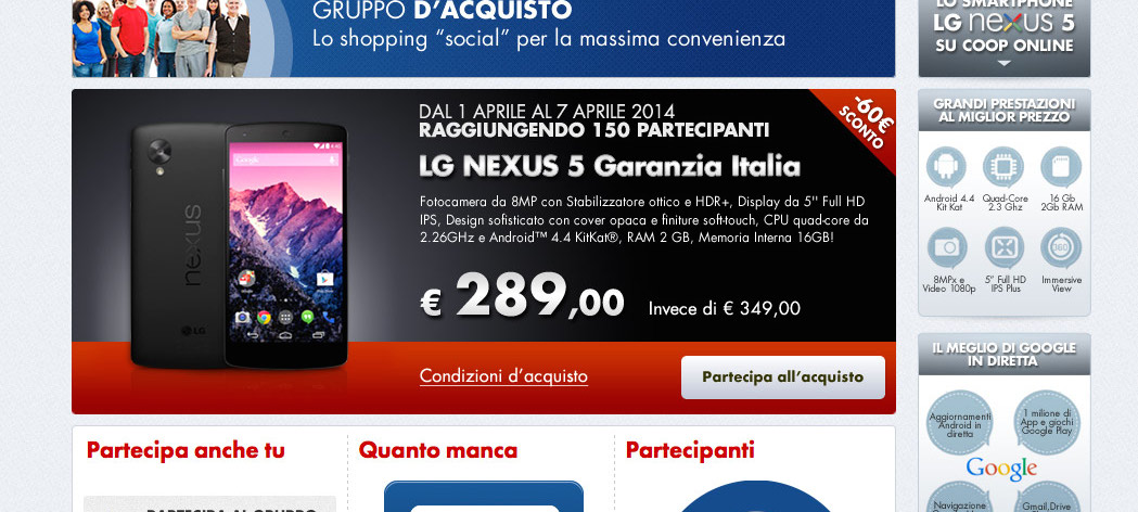 Nexus 5 Gruppo di acquisto Coop Online