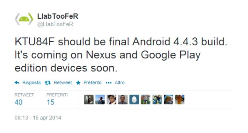 Android 4.4.3: nuove conferme sulla disponibilità dell'update entro breve
