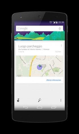 Google Now parcheggio