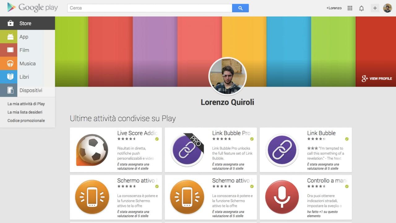 """Google Play su desktop aggiunge la sezione """"La mia attività di Play"""""""