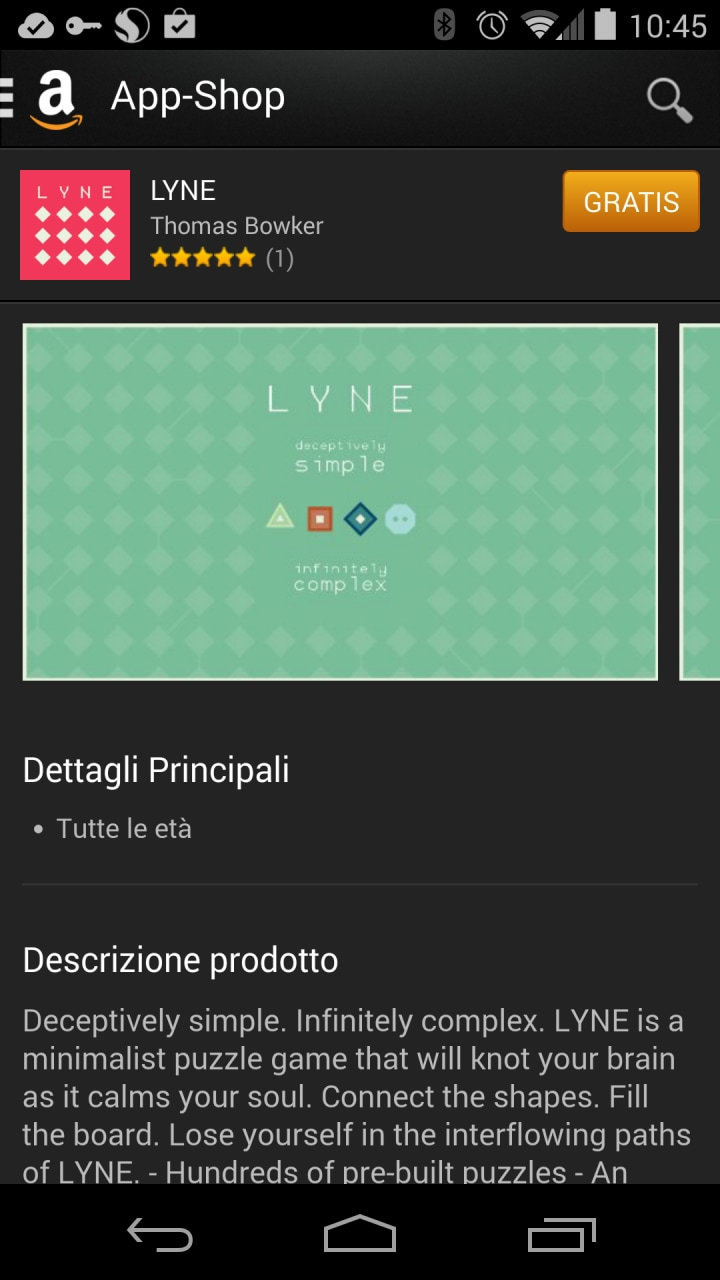 LYNE gratis solo per oggi su Amazon App-Shop