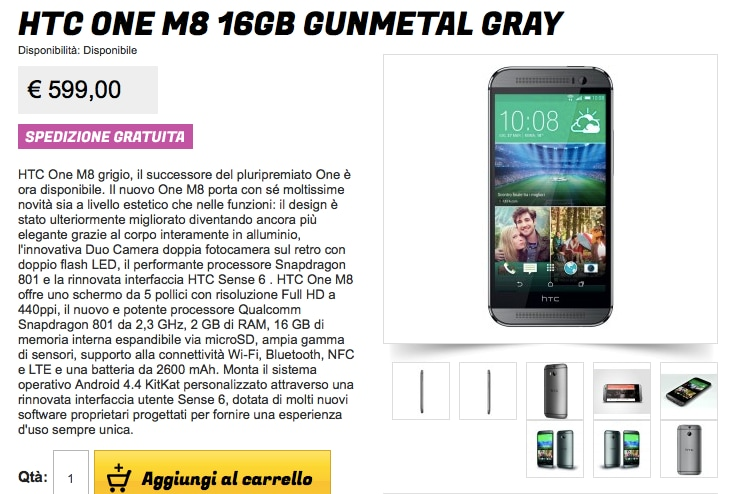 HTC One (M8) disponibile da Gli Stockisti a 599€