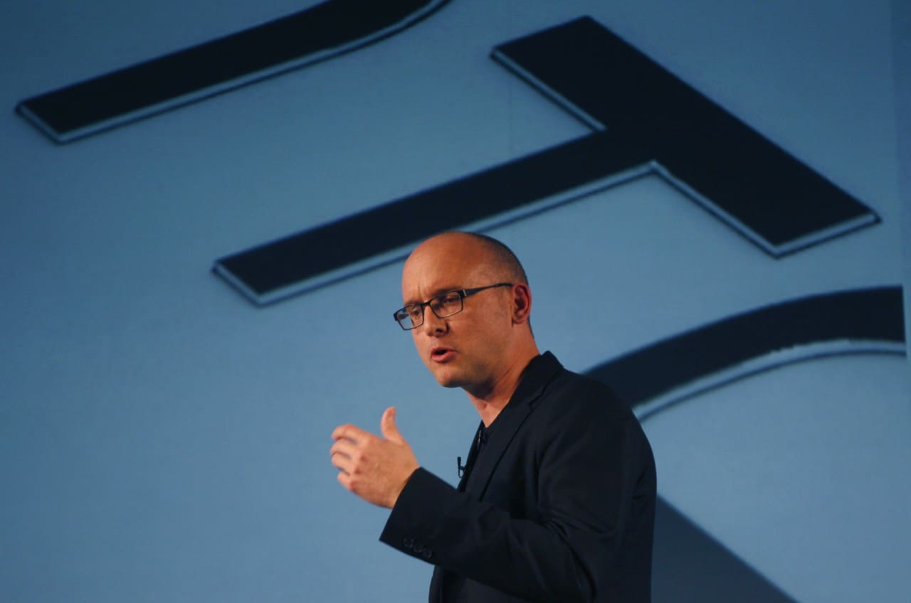 HTC's Vice President of Design Croyle attends news conference during Mobile World Congress in Barcelona