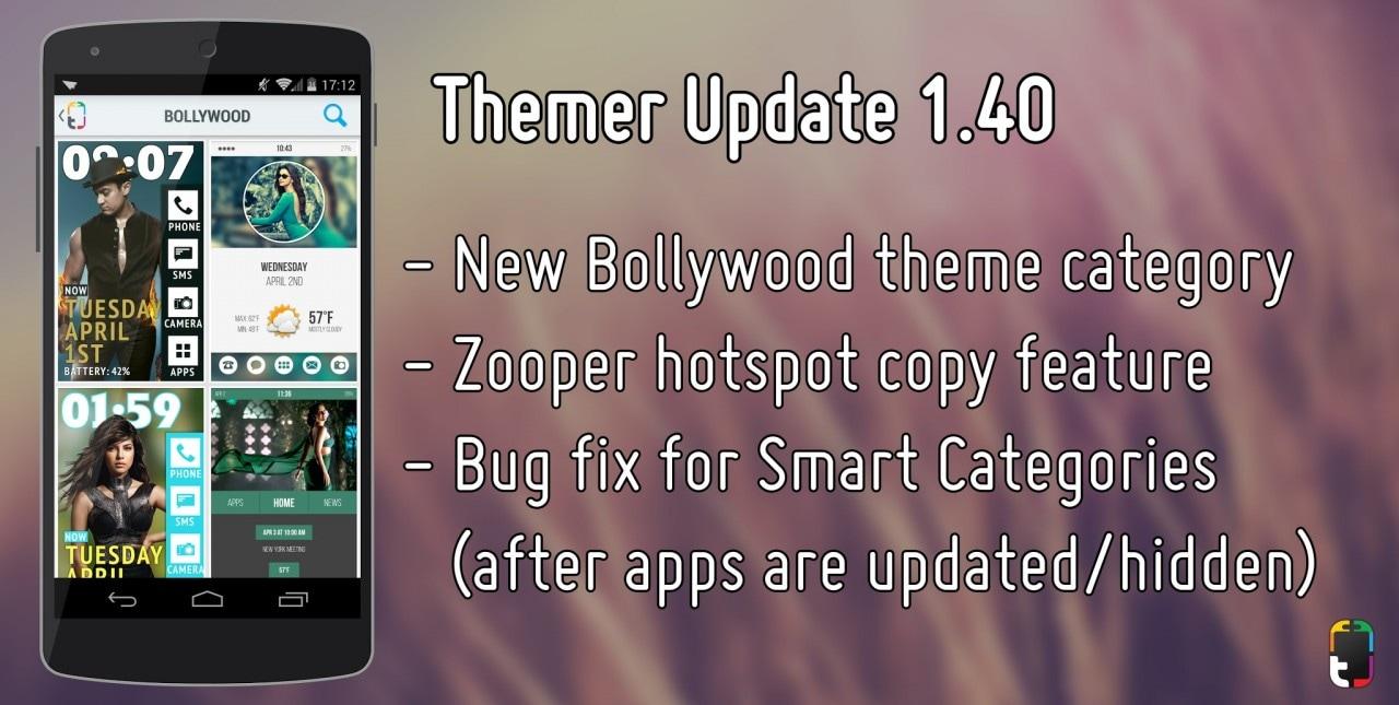 Themer si aggiorna con la categoria Bollywood e novità per Zooper