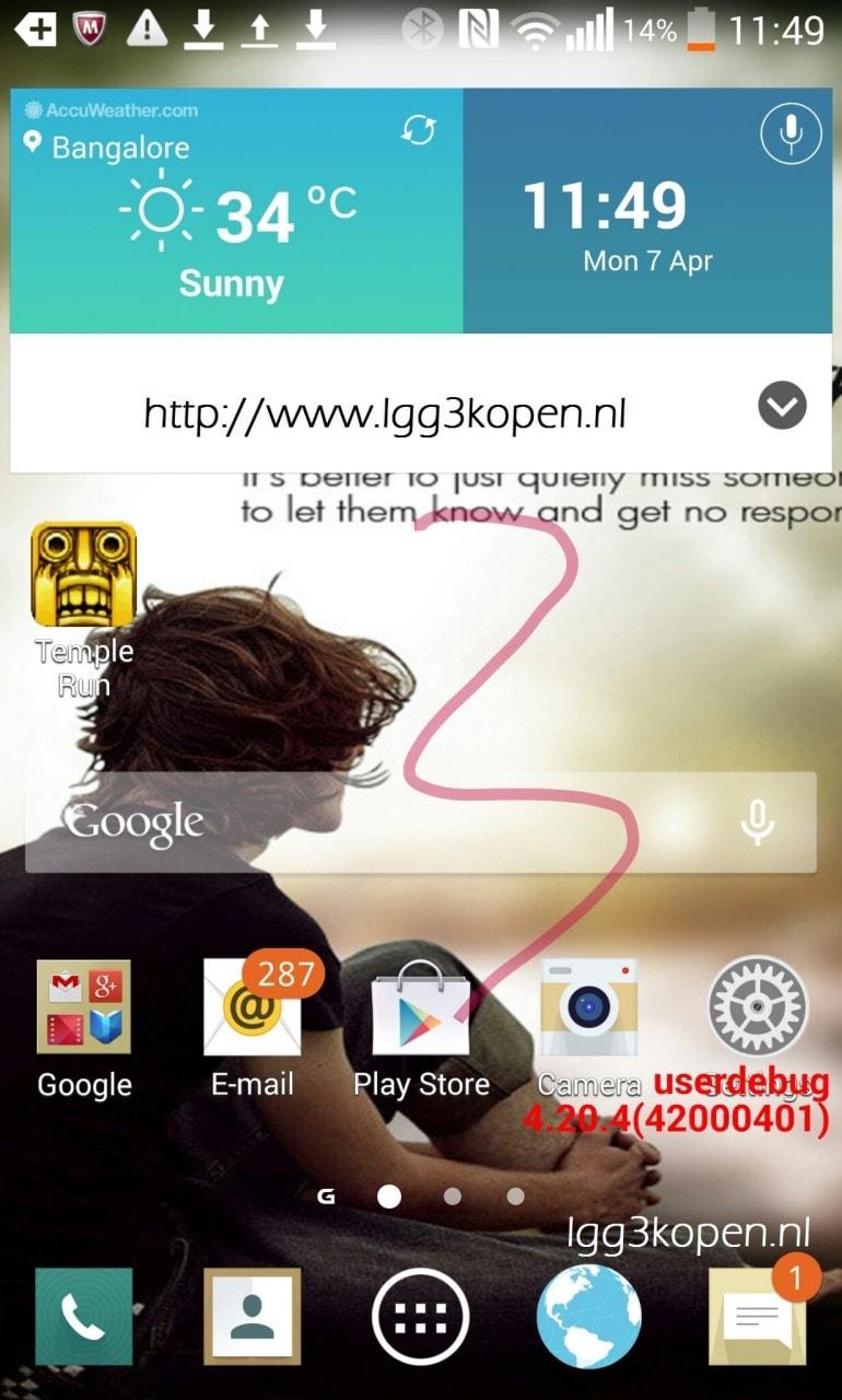 LG G3: un presunto screenshot della home rivela una nuova interfaccia