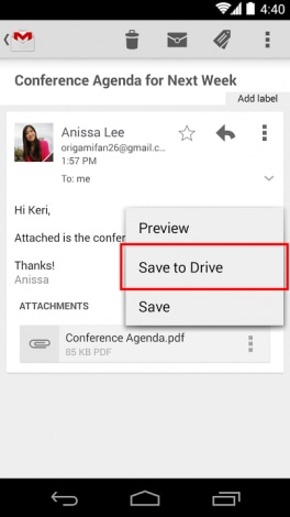 Gmail Salva su Drive