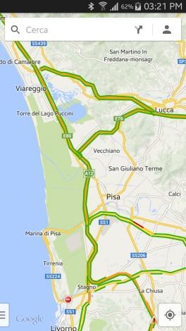 Ecco la schermata principale di Google Maps