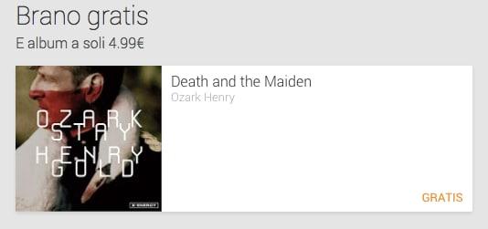 Death and the Maiden è il singolo gratuito di questa settimana su Google Play Music
