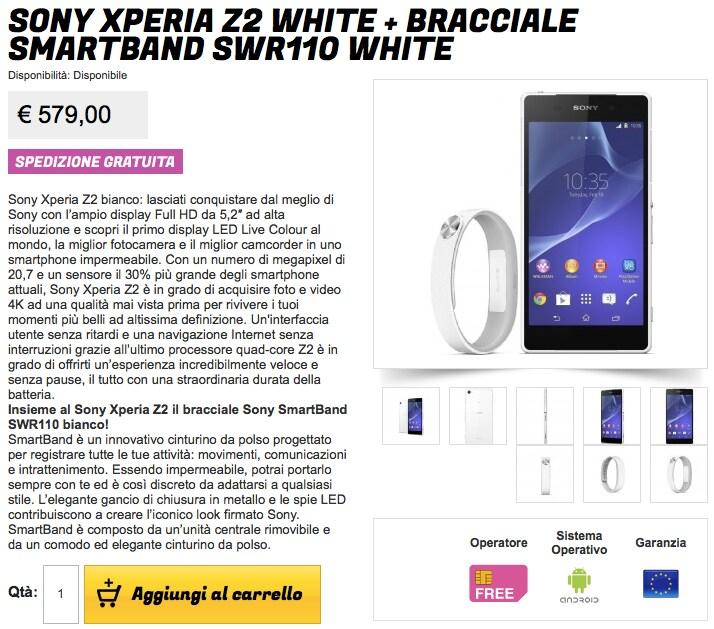 Sony Xperia Z2 con SmartBand a 579€ da Gli Stockisti
