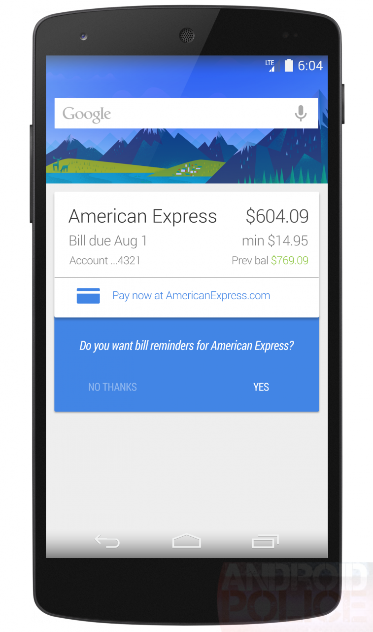Google Now ricorda ora di pagare le bollette (negli USA)