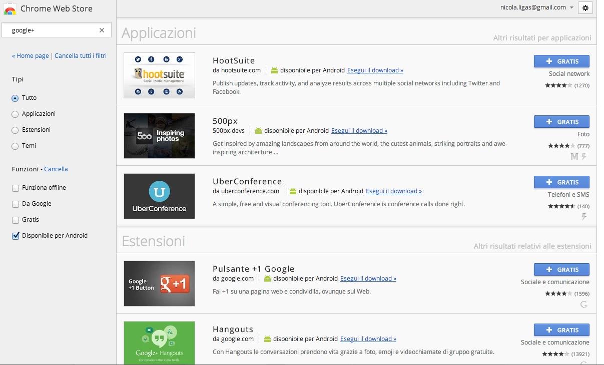 """Il Chrome Web Store aggiunge il filtro """"Disponibile per Android"""""""