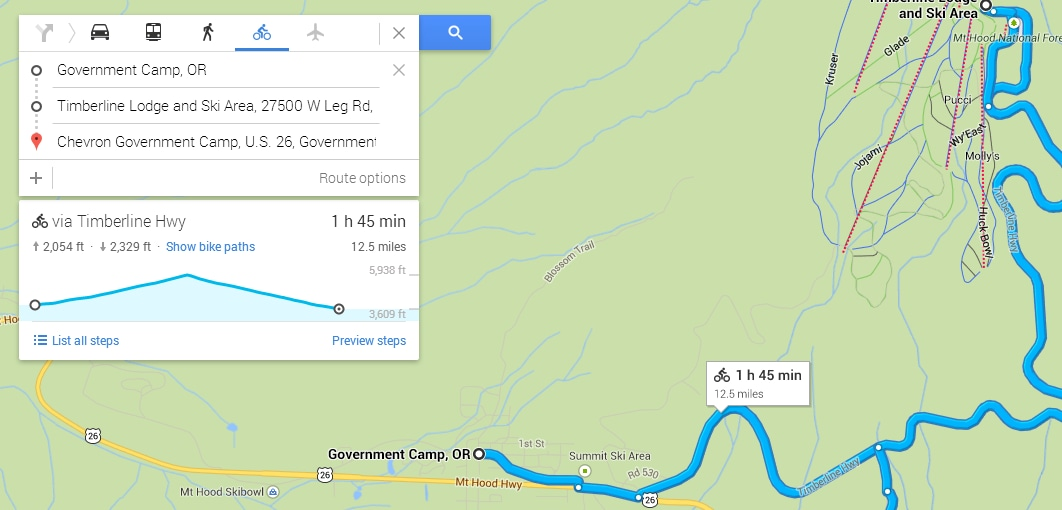 Google Maps mostra i profili altimetrici per i percorsi in bicicletta (non in Italia)