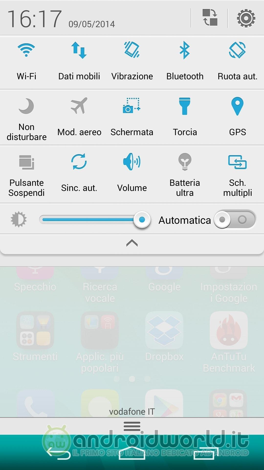 screenshot Huawei Ascend P7 toggle