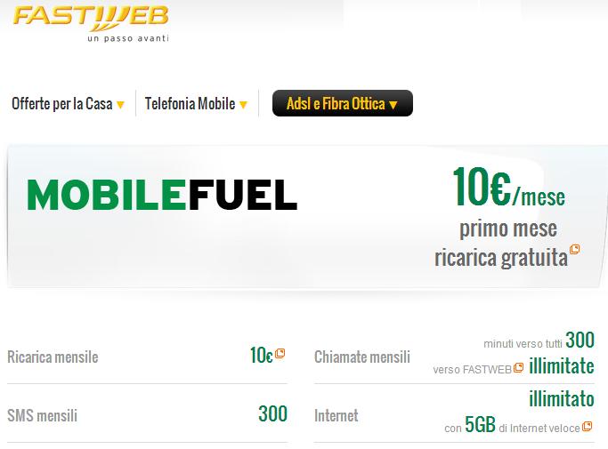 La nuova offerta ricaricabile di Fastweb Mobile: 10€ al mese per 5GB, 300 SMS, 300 minuti