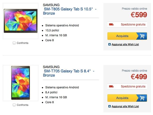 Samsung Galaxy Tab S 10.5 e 8.4 in pre-ordine da Euronics, spedizioni a inizio luglio
