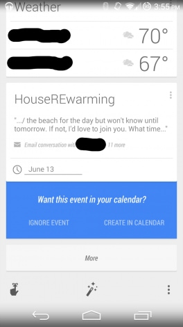 Google Now eventi