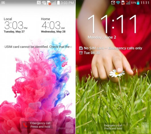 LG G3 vs LG G2 lockscreen
