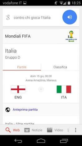 Mondiali Google Now