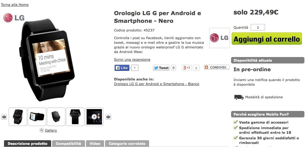 LG G Watch in pre-ordine a 230€