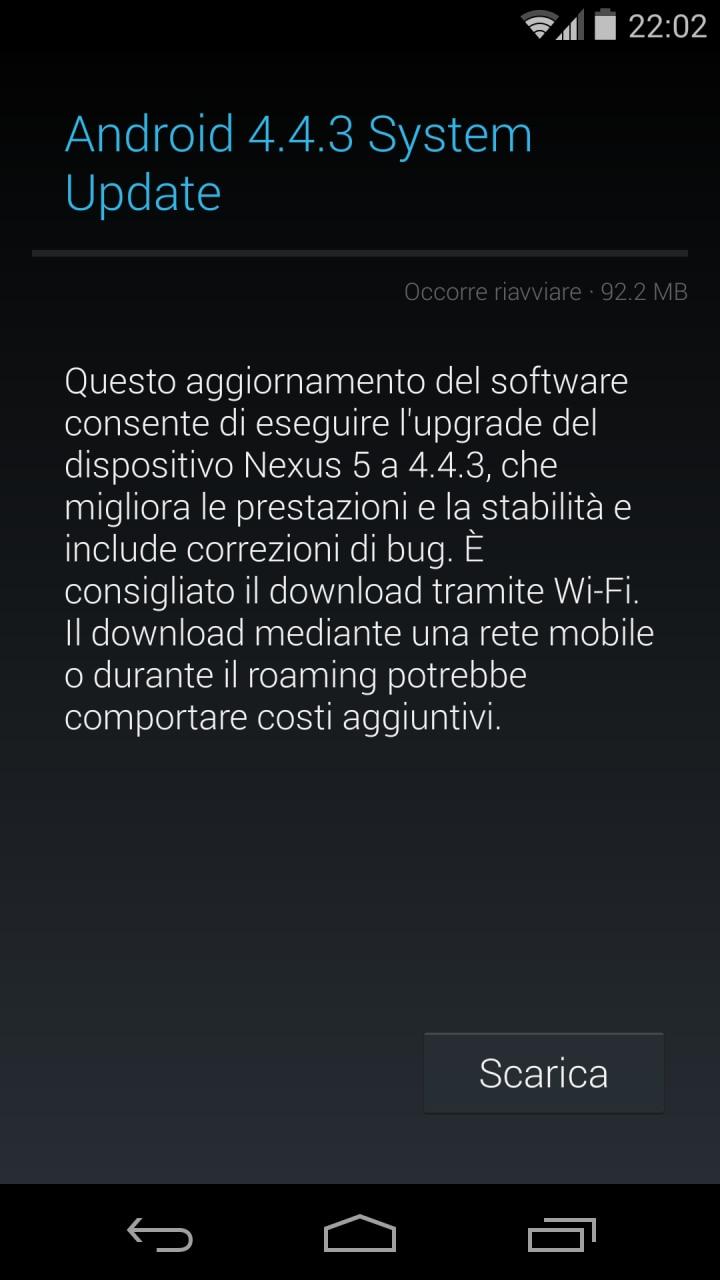 Android 4.4.3 per Nexus 5 e Nexus 4, iniziato l'aggiornamento in Italia