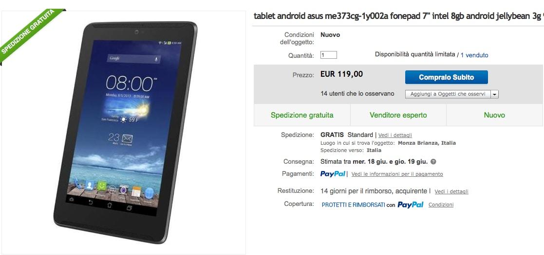 ASUS Fonepad 7 a 119€ da Yeppon