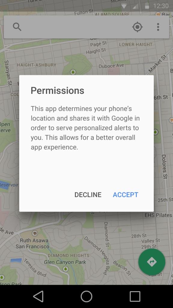 Android L potrebbe richiedere i permessi al momento dell'uso delle singole app