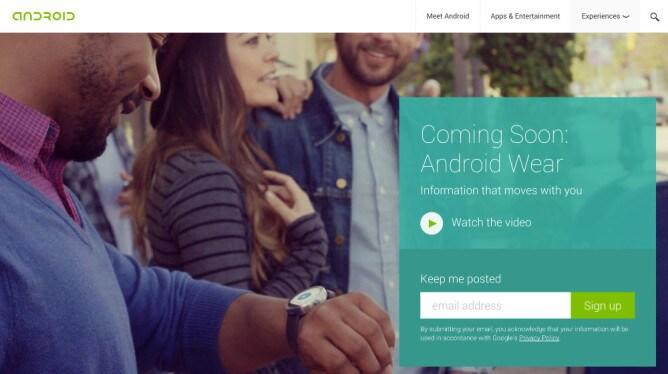Android Wear adesso ha una sua pagina web