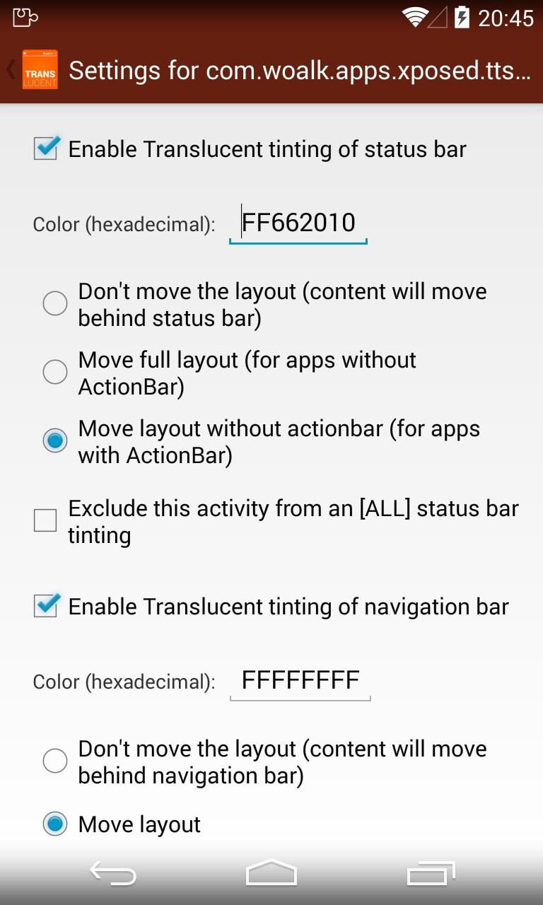 tinted translucent statusbar