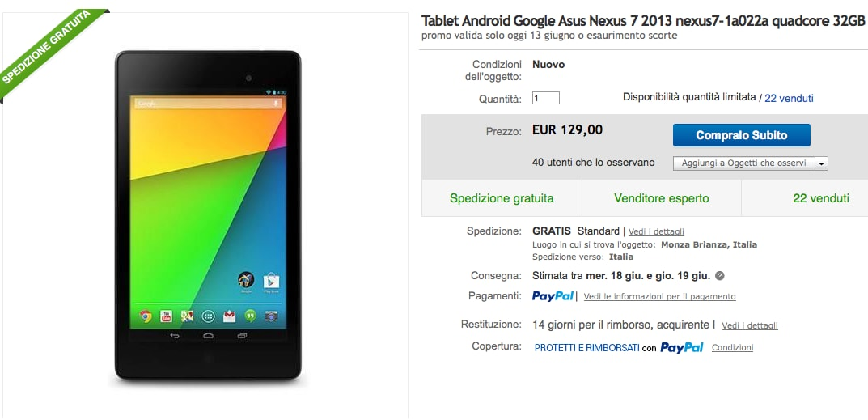ASUS Nexus 7 2013 Wi-Fi da 32 GB a 129€ solo per oggi