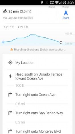 Google Maps ciclisti