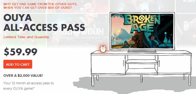 OUYA introdurrà una sottoscrizione annuale di 60$ per l'accesso illimitato a giochi e acquisti in-app