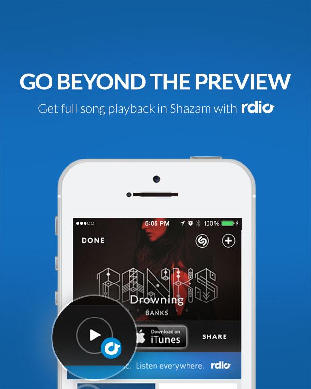 Shazam si integra con Rdio: presto anche altri servizi