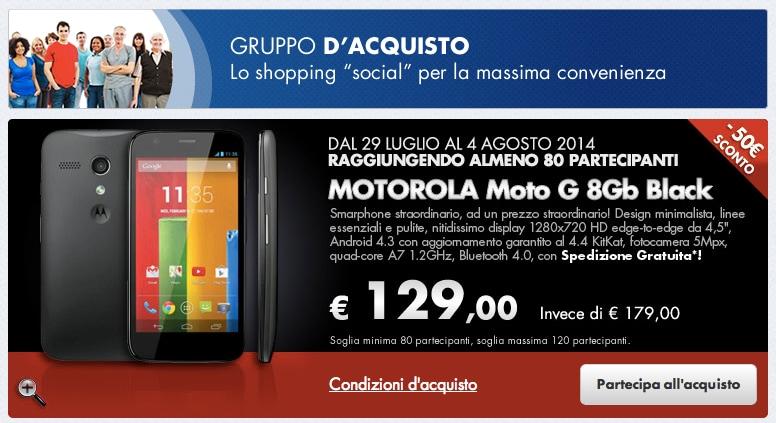 Coop Online propone Moto G a 129 euro con un gruppo d'acquisto