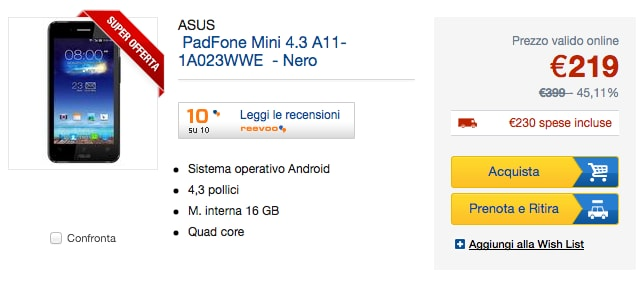 padfone mini euronics