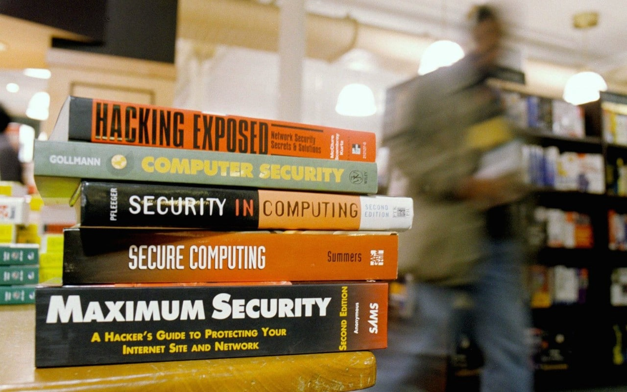 A collection of books about computer security are shown in a Manhattan bookstore
