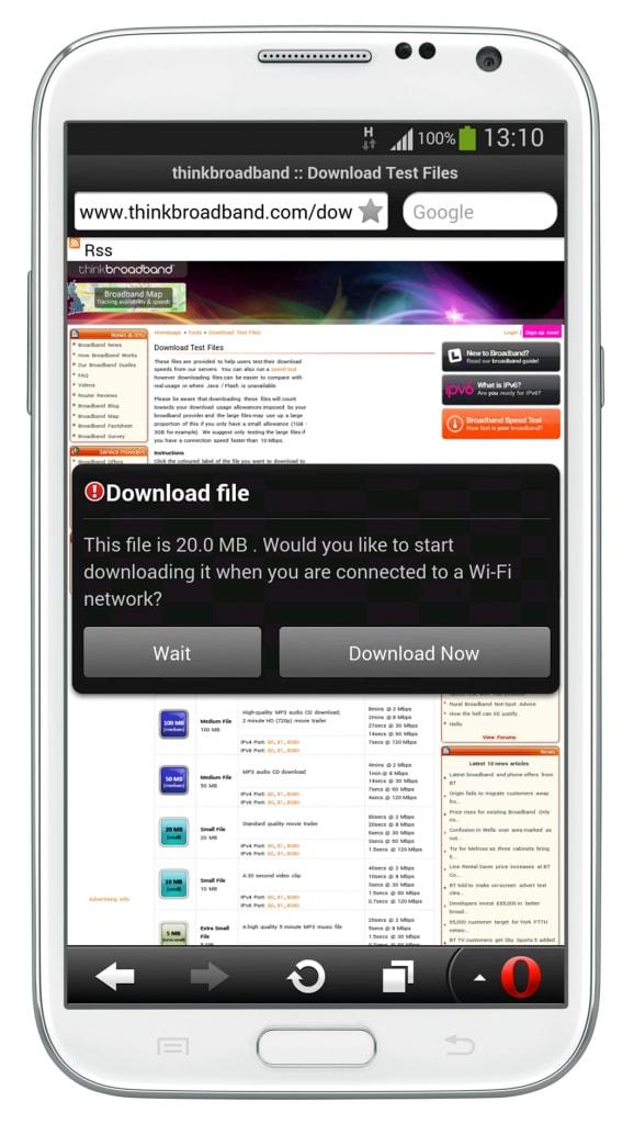 Opera Mini per Android si aggiorna con un avviso in caso di download troppo pesante