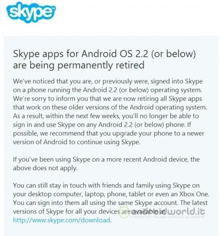 Skype non più compatibile