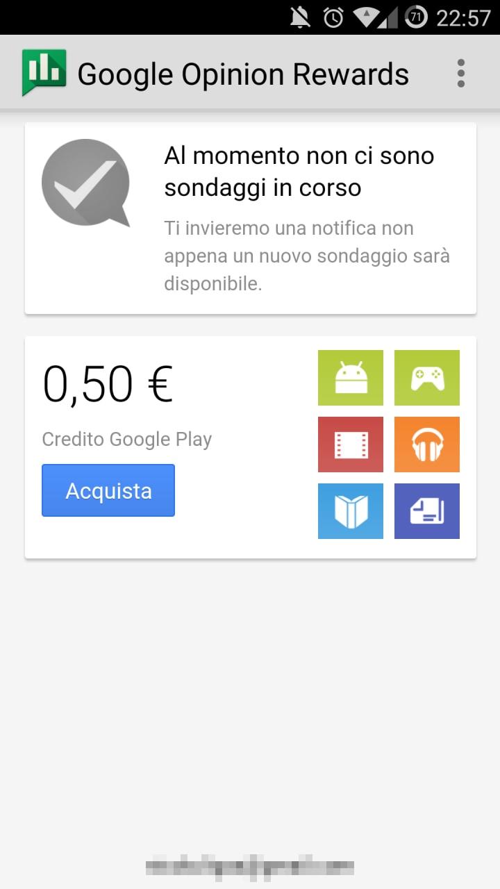 Guadagnate gratis credito su Google Play con Google Opinion Rewards! (video)