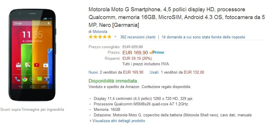 """Motorola Moto G """"vecchia generazione"""" da 16 GB in offerta a 169,99€ su Amazon.it"""