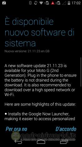 Motorola Moto G 2014 aggiornamento 1