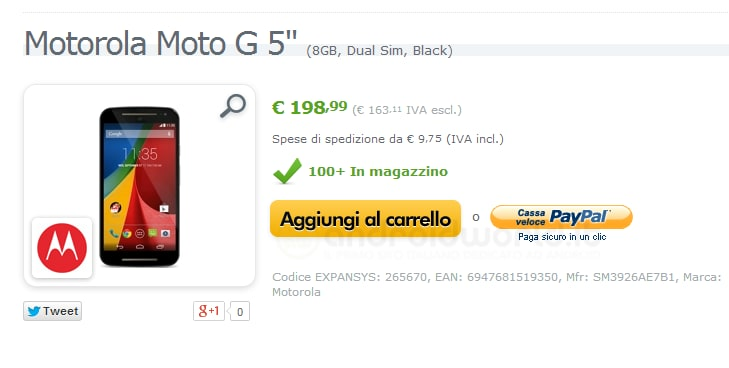 """Il nuovo Motorola Moto G da 5"""" dual SIM (insieme alle Shell) già disponibile su Expansys.it a 198,99€"""
