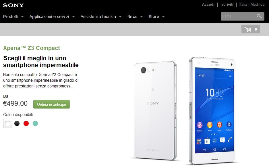Sony Xperia Z3 Compact Pre-Ordine