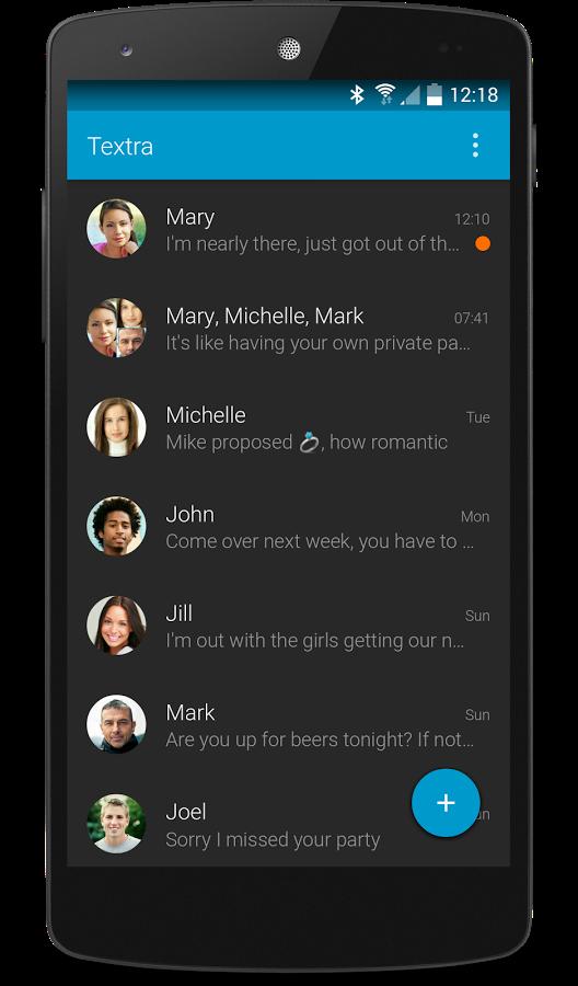 SMS e material design: Textra SMS (foto)
