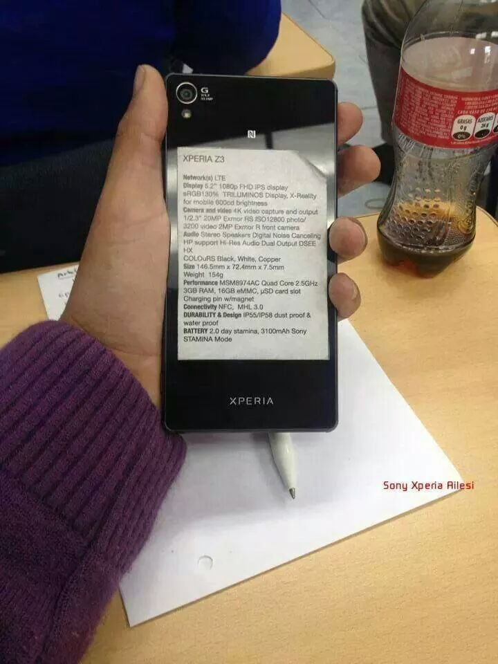 Sony Xperia Z3: una foto svela tutte le caratteristiche tecniche
