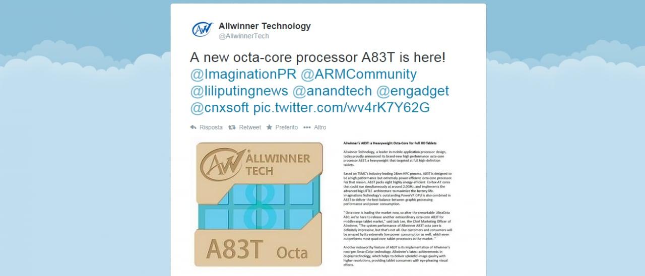 Allwinner presenta il processore octa-core A83T