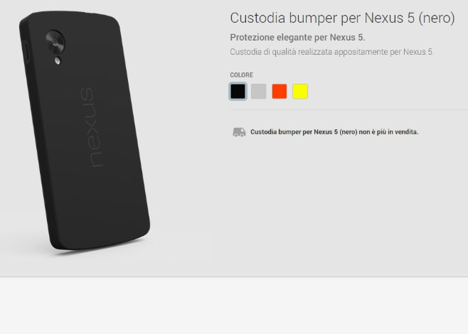Le custodie bumper nere per i Nexus 5 non sono più in vendità
