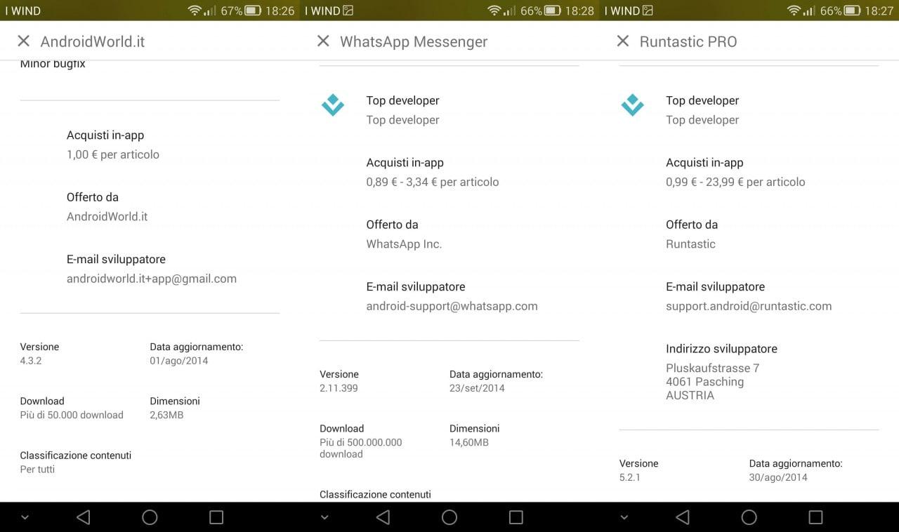 Google Play Store mostra ora le fasce di prezzo degli acquisti in-app e l'indirizzo degli sviluppatori (aggiornato)