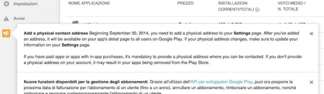google play indirizzo fisico