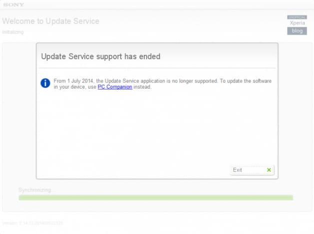 sony update service