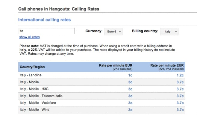 tariffe hangouts dialer
